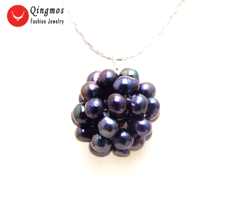 Qingmos Black Natural Pearl Handwork Weaving 18-20mm Round Ball Pendant & Necklace for Women & Silver Plated Chain Chokers 17''
