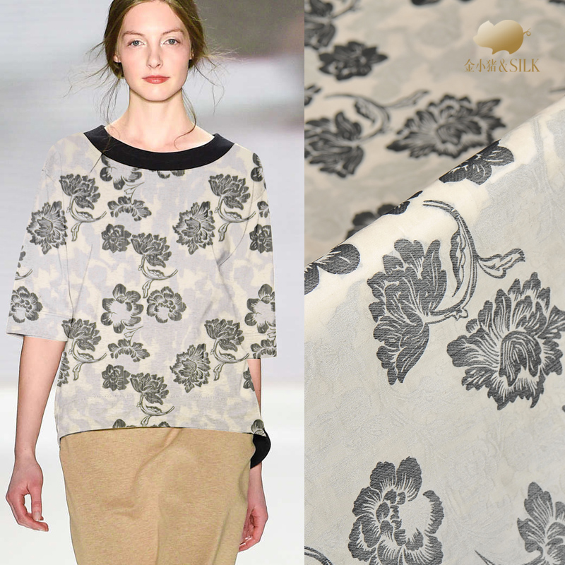 145 cm Jacquard soie tissu robe doublure bricolage jacquard lin tissu chinois soie jacquard tissu matériel en gros soie tissu