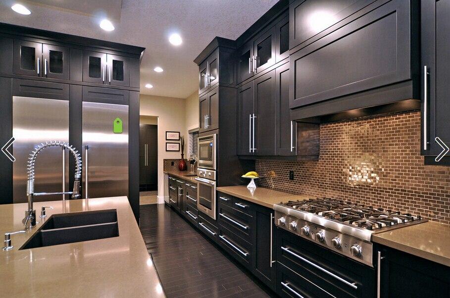 Dark Color Shaker Design Kitchen Cabinet K015