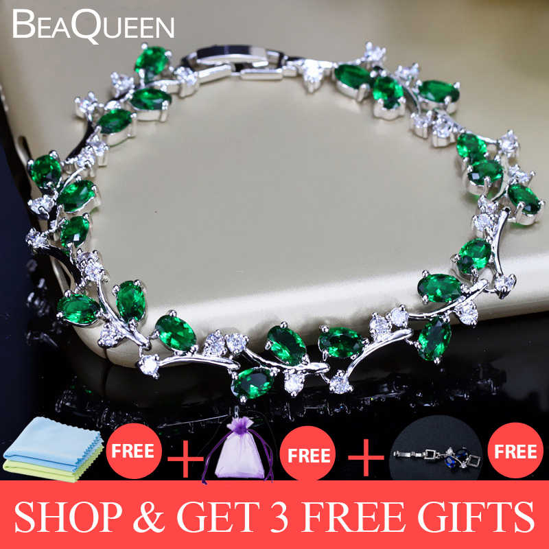BeaQueen Lovely Oval Round Cubic Zircon Crystal Silver Color Royal Jewellry Green CZ Stone Tennis Bracelets for Women B015