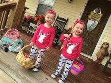Ярко-розовый олень топ Рождество костюм дети ребенок олень печати брюки cottom бутик девушки одежда наборы подходящие аксессуары лук