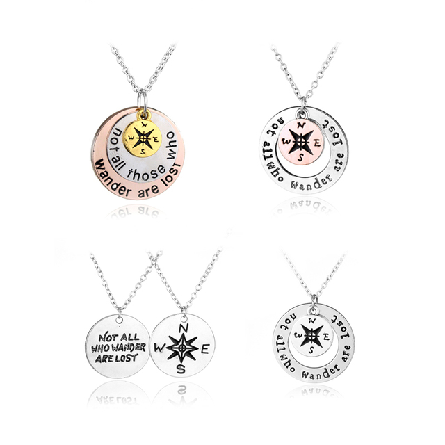 New inspirational compass necklace not all who wander are lost new inspirational compass necklace not all who wander are lost pendant silver pendant necklaces aloadofball Images