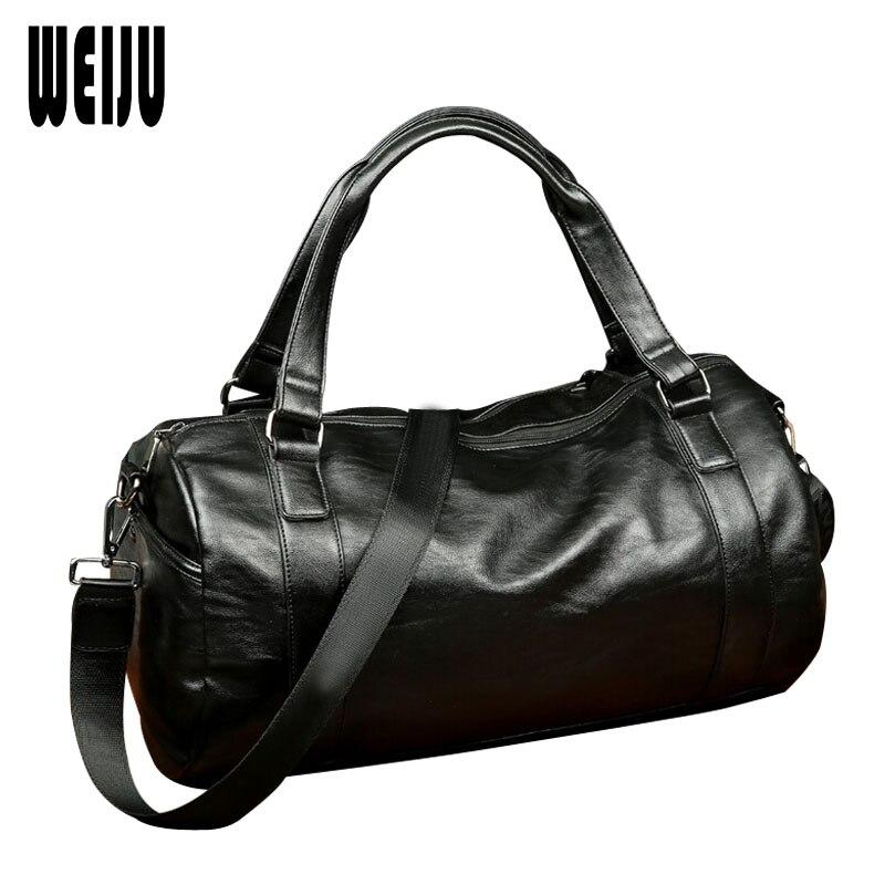 Brand Men PU Leather Travel Bag Women Hand 2016 New Mens Portable Shoulder Bag Vintage Mens Leather Travel Duffle Bags