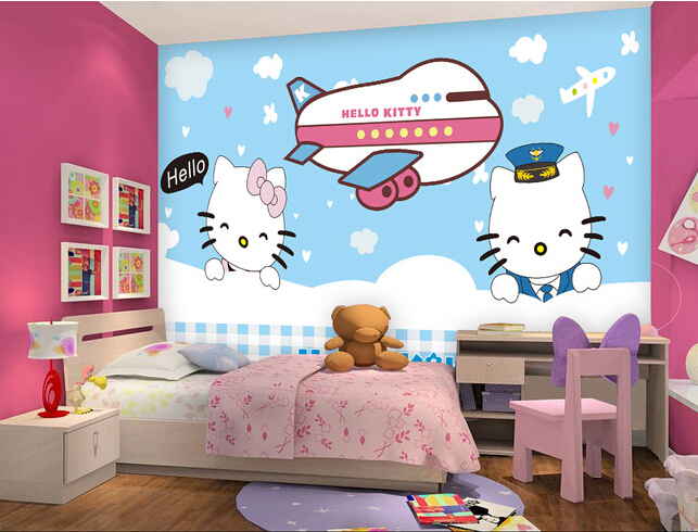 Custom natural material wallpaper  cartoon cat for paradise children room  bedroom wall waterproof fabric papel. Online Buy Wholesale wallpaper material from China wallpaper