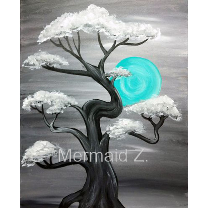 Hand Painted Abstract Oil Painting Ohio Blue Moon Art Landscape Original Paintings For Living Room Wall Canvas In Calligraphy From