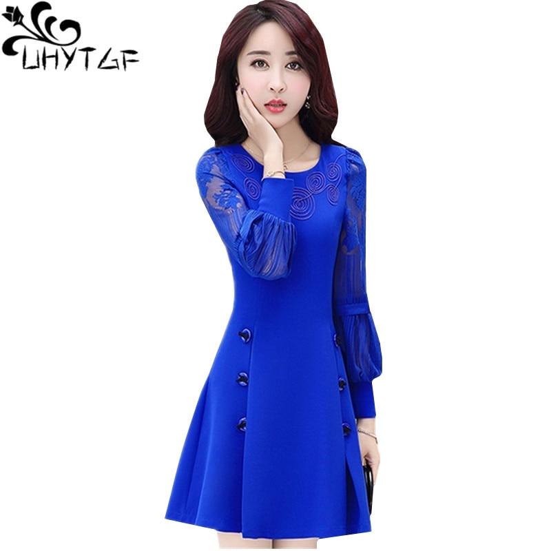 UHYTGF automne robe femmes mode nouvelle dentelle lanterne manches pull robes femme mince Mini rouge robes élégante dame robe 926