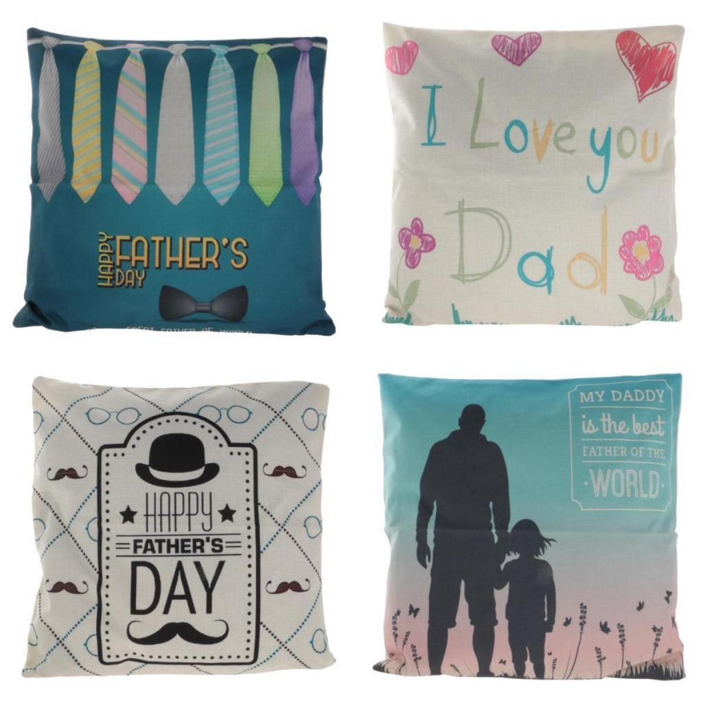 New Fathers Day Gift Cotton Linen Throw Pillow Case Cushion Cover Birthday For Father Home Room Decoration