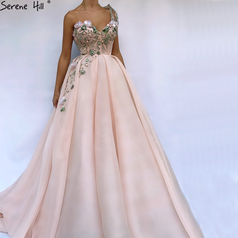 d0e30e7ffe1e1 2019 One Shoulder Handmade Flowers Evening Dresses Party Long Formal Dress  Real Picture Robe De Soiree Serenehill BLA6512 (BEST PROMO July 2019)
