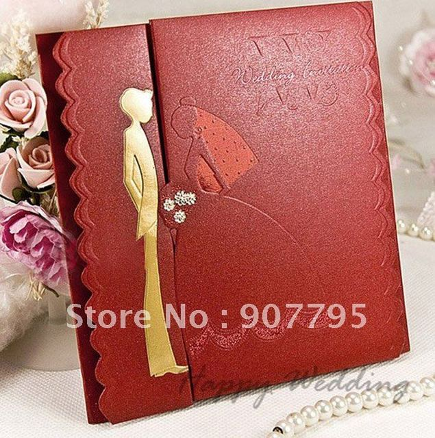 Elegant Romantic Wedding Invitation Cardwedding Card Red Carton Design 100pcs Free Shipping