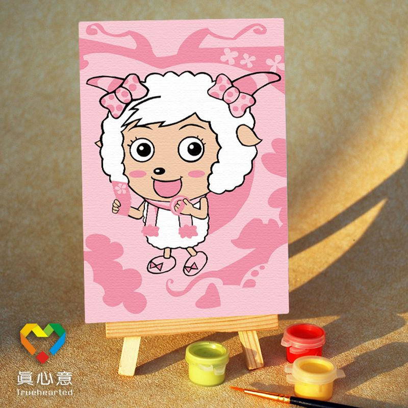 Diy digital oil painting cartoon oil painting mini painting colored drawing - female goat cosmetic 10 15 belt easel