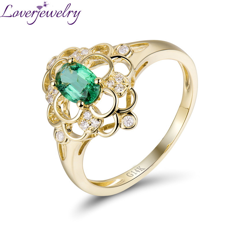 Flower Shape Diamond Jewelry Natural Emerald Ring 14K Yellow Gold Good Gem for Women Party chic ellipse shape faux gem flower earrings for women