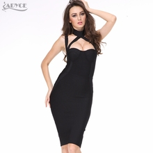 Black Halter Straps Backless Hollow Out Party Dress