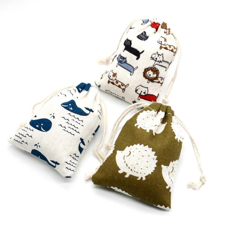 5 قطعة/الوحدة صغيرة القطن أكياس 9x12 سنتيمتر الزفاف عيد الميلاد الرباط هدية حقيبة الحقائب لطيفة التجميل سوار تغليف المجوهرات أكياس