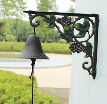 Cast Iron Grape Dinner Bell Wall Mount Vineyard Door Bell WELCOME Decorative Bell for Home Bar