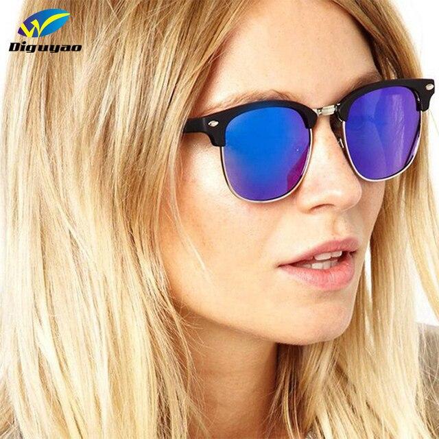 0b7e307568ef8 DIGUYAO 2018 Moda Clássica marca de Luxo Moldura de Ouro Espelhado Rodada  Óculos De Sol Das