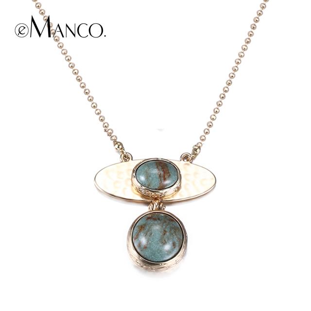 EManco verde pedra longo colar banhado a ouro liga geométrica pingente colares para mulheres concise empilhar jóias colar feminino
