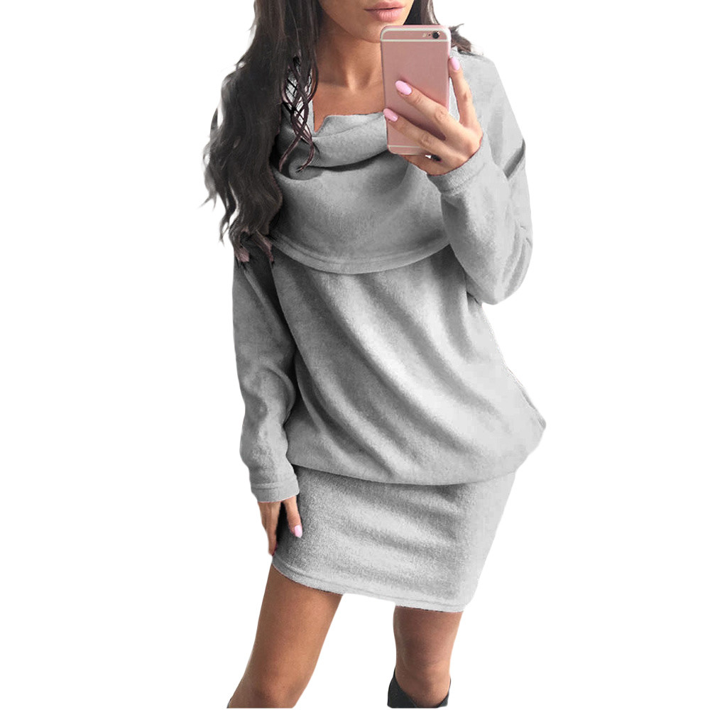 Feitong Autumn Winter Women Sweater Dress Fashion Sexy Off Shoulder Long Sleeve Bodycon Lapel Knitted Dress Vestidos Femininos sweet off the shoulder long sleeve bodycon sweater dress for women