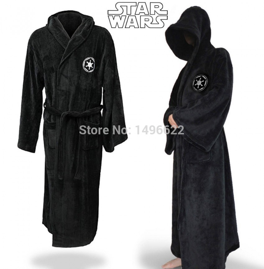 Men Star Wars Jedi Knight Bath Robe For Man Black