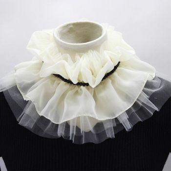 Fashion Fake Collar Pearl Decorate Chiffon Doll Collar Detachable Collar Lapel Blouse Ladies Adjustable Clothes Accessories