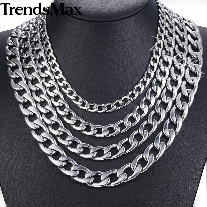 61530dc455fa4 11 15mm High Polished Stainless Steel Cuban Necklace for Men Silver Steel  Curb Chain 18 36