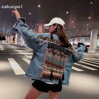 Cakucool Denim jacket Female Autumn vintage ethnic appliques Embroid Outerwear tassels Beading loose Jean coat jacket Women