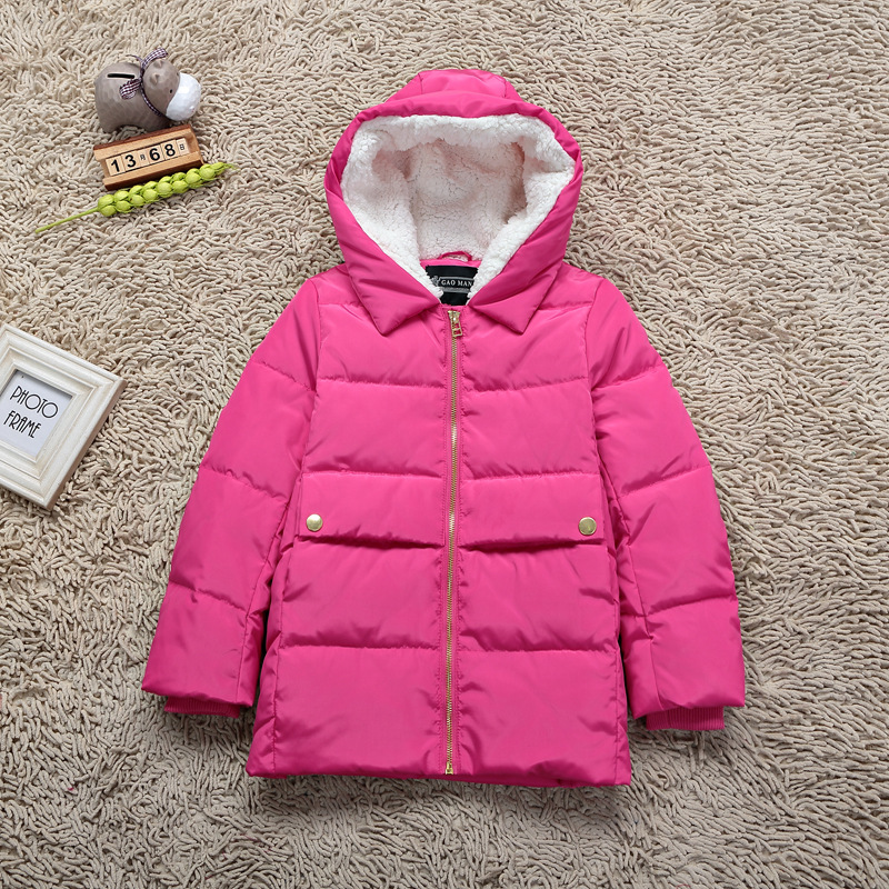 Korean Girls Jackets Kids Down Coats Hooded Children s Outwear Clothing Boys Windbreaker Lamb Wool Thick