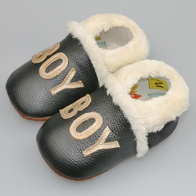 Handmade New Winter for Boy Genuine Suede Leather Baby Moccasins Infant hard sole first walkers Anti-slip Baby fur Shoes