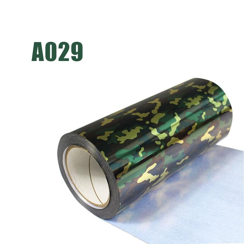 Livraison gratuite 1 rouleau 25cm x 25m hologramme transfert de chaleur vinyle Camouflage fer sur Film HTV T-shirt