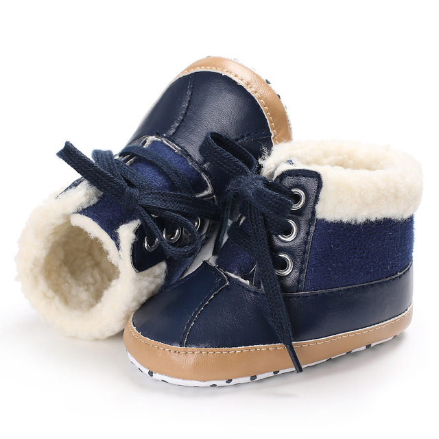 0-1T winter Newborn bay boy boot lace up cotton shoes soft solid pu leather keep warm shoes fashion first walker sneakers