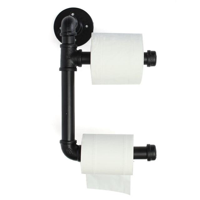 Black Toilet Paper Holder Industrial Urban Style Iron Pipe Double - Iron bathroom hardware