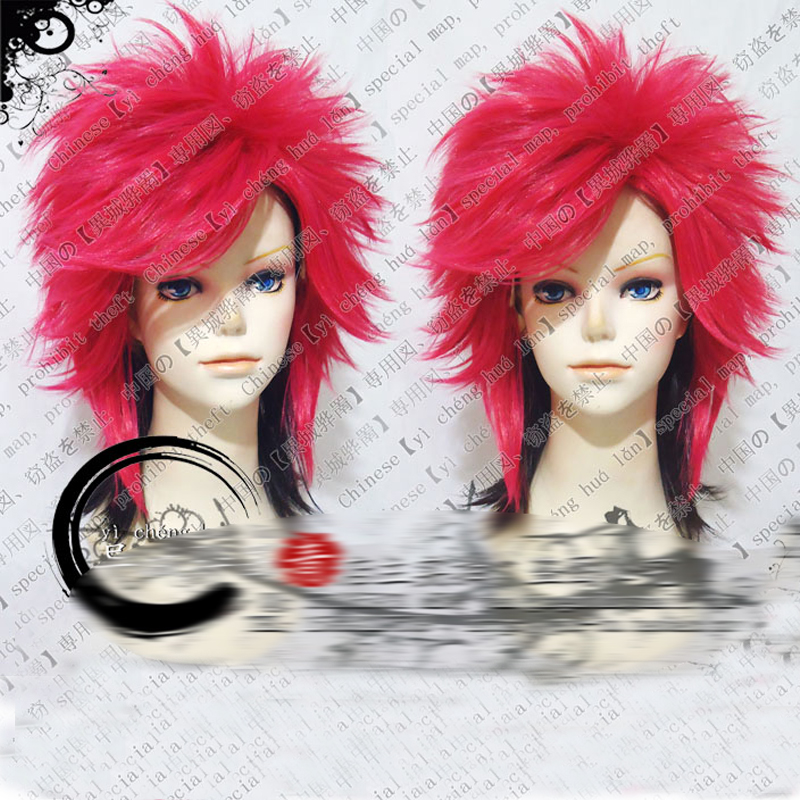 Matsumoto Hideto X-JAPAN hide 45cm Black and Rose Red Mix Short Fluffy Layered Cosplay Costume Wigs + Wig Cap