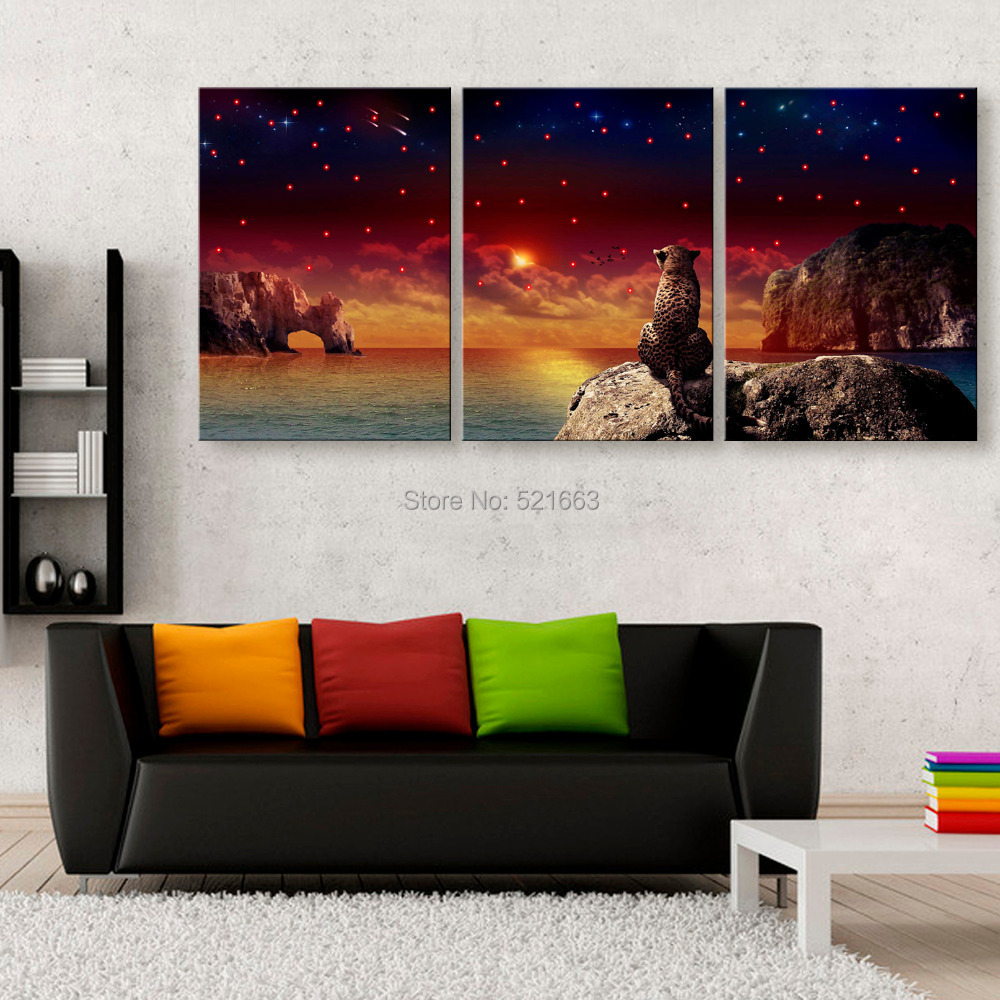 Stretched Canvas Prints Gaze at The Stars LED Flashing Optical Fiber Print LED Wall Art  ...