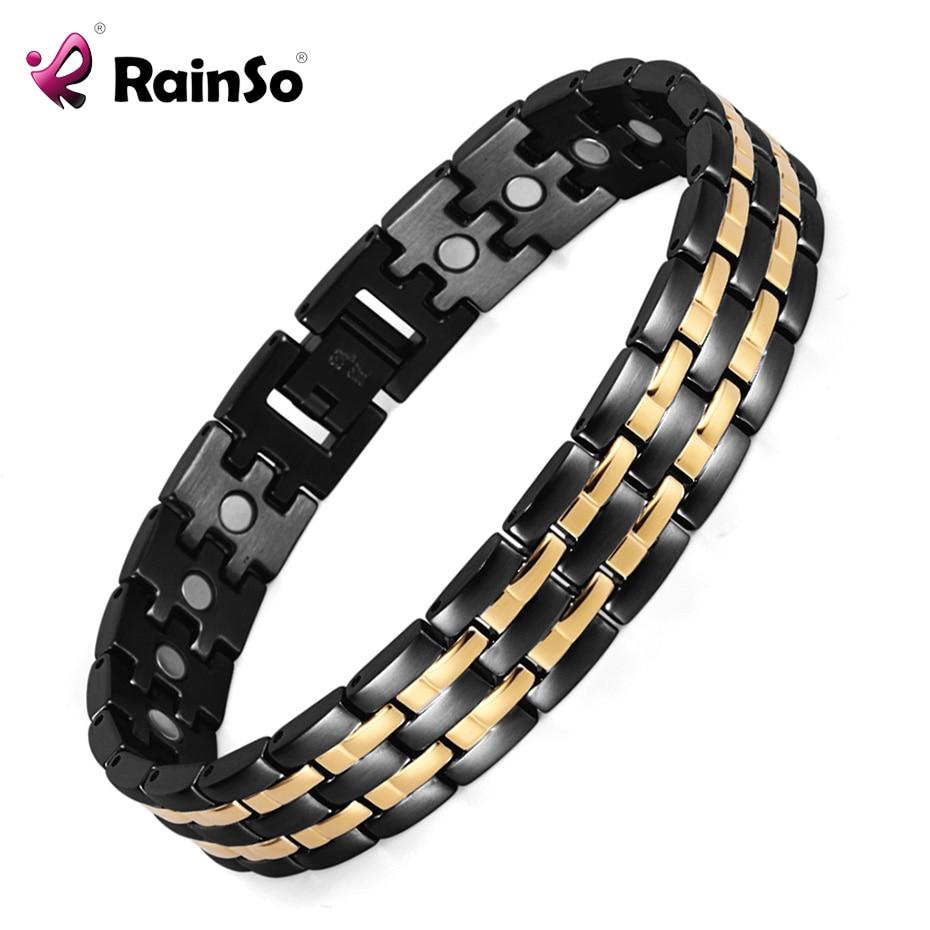 Rainso saúde pulseira magnética dos homens mão cadeia elo da cadeia pulseira banhado a preto bio energia pulseiras de aço inoxidável e pulseiras para homens