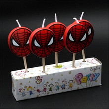 5pcs/lot Spiderman Party Supplies Kids Birthday Candles Evening Party Decorations Set Birthday Wedding Party Cake Candles