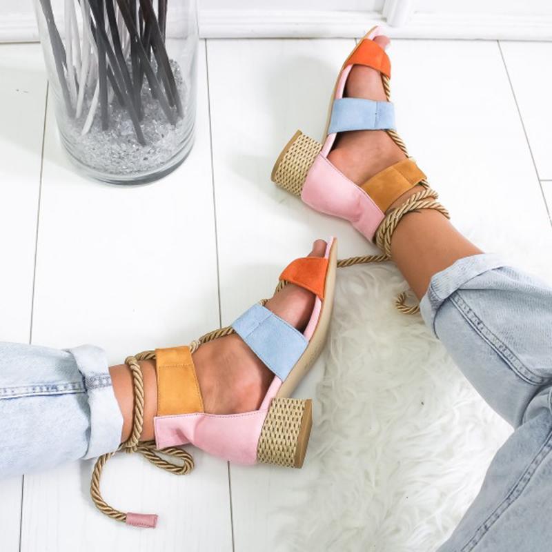 HTB1sCRrXL1G3KVjSZFkq6yK4XXaN Laamei 2019 New  Espadrilles Women Sandals Heel Pointed Fish Mouth Fashion Sandals Hemp Rope Lace Up Platform Sandal