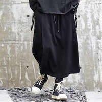 男性ファッション因果ワイド脚パンツ日本スタイル黒ハーレムスカートズボンストリートヒップホップゴシック緩い男性着物パンツ