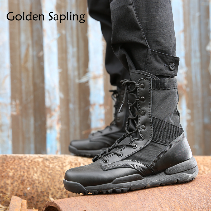 Golden Sapling Tactical Boots Military Men Hiking Shoes Breathable Hunting Boots Waterproof Mountain Outdoor Shoes Man Sneakers цена
