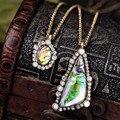 Fashion Vintage Exquisite Shiny Gradient Color Triangle Double Pendant & Necklace For Women Factory Wholesale