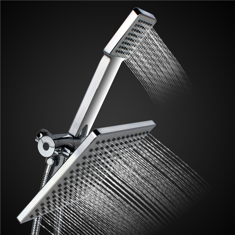 8 Inches Square Rainfall Jet Handheld Shower Head Set Combo Chrome