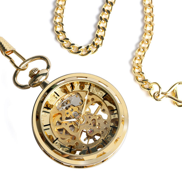 Luxury Gold Transparent Skeleton Hand Wind Mechanical Pocket Watch With 30 cm Chain Open Face Design Gift For Men Women