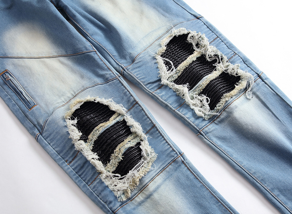 New 2018 orth American mens wear jeans zipper elastic high street fashion to crinkle black pale blue denim trousers