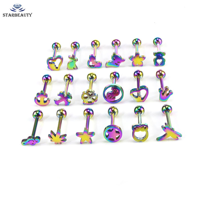 Covet Jewelry Leopard Print Logo Acrylic Barbell Tongue Ring
