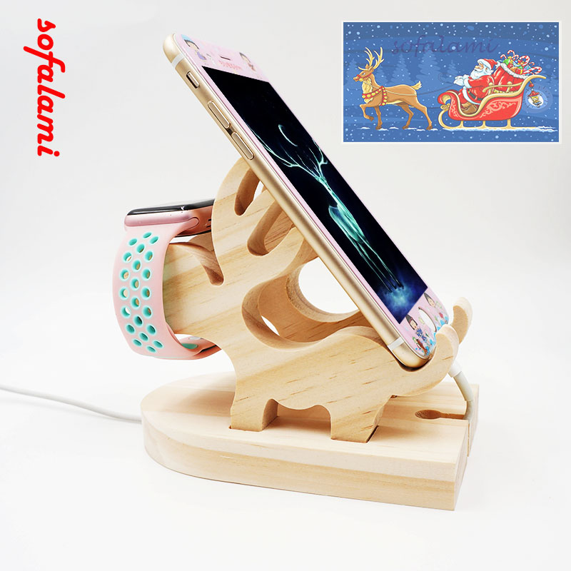 Wood Bracket Christmas Elk Deer Desk Dock Charging Cell Phone Stand Watch Holder For iPhone 6 6S 7 Plus ipad Pro Iwatch Android mobile phone