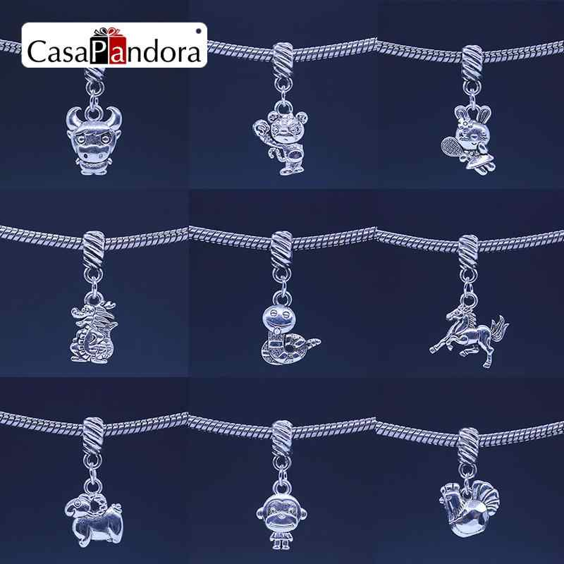 CasaPandora Silver-colored Chinese Twelve Zodiac Pendant Twelve Animal Signs Fit Bracelet Charm DIY Making Pingente Berloque