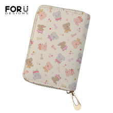 FORUDESIGNS Fashion Women Business PU Card Holder Kawaii Elephant Prints Girls Money Purses Cartoon Animal Pattern Cluth Wallets