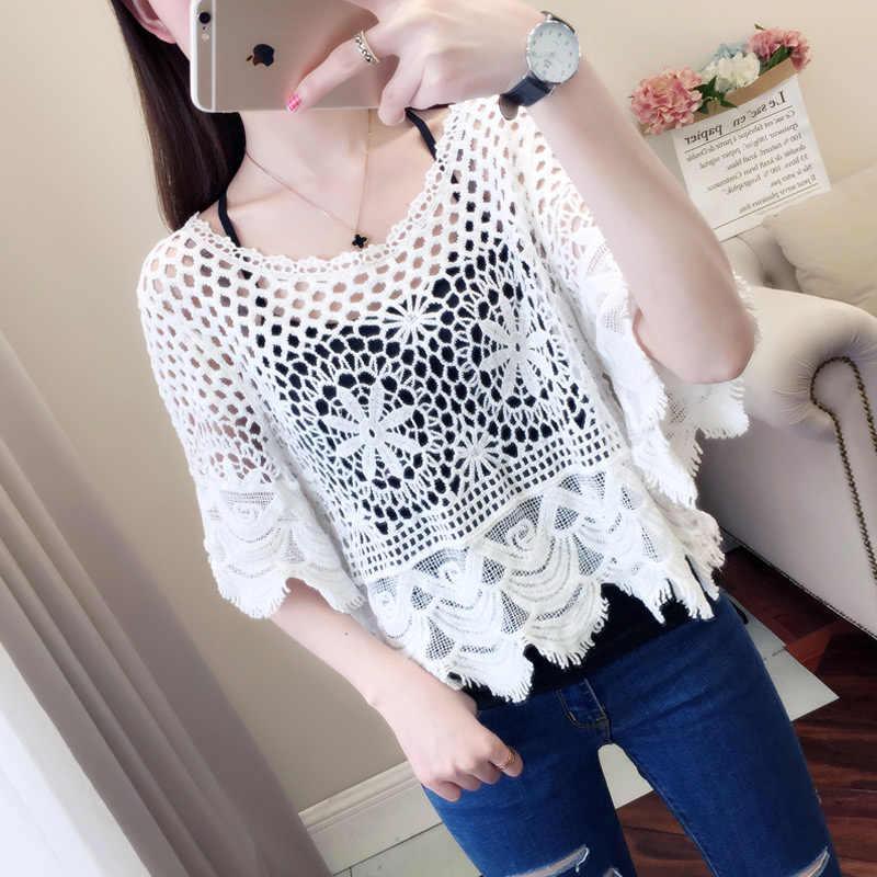 Summer blue floral crochet lace blouse top women crochet summer clothes