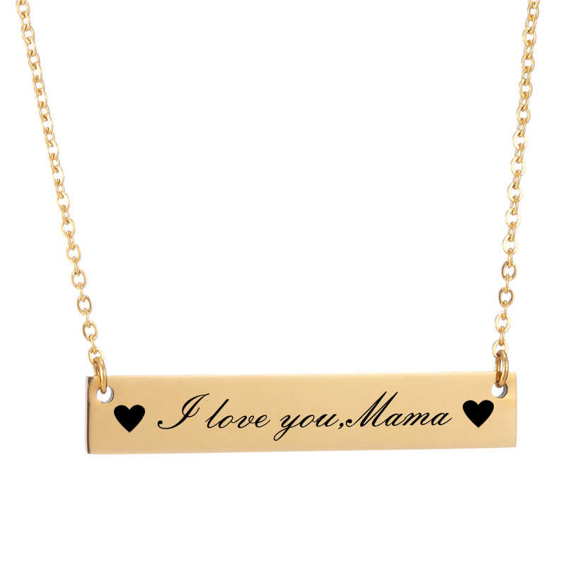 Mama Custom Name Necklace Jewelry Personalized Stainless Steel Bar Choker Necklaces for Women I love you,Mama Mothers Day Gift