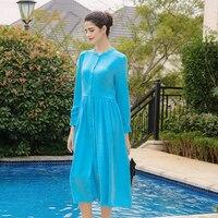 VOA плюс Размеры тяжелый шелк шифон Небесно Голубой женское платье Повседневное с длинным рукавом пляж Элегантные платья весна Vestidos A3910