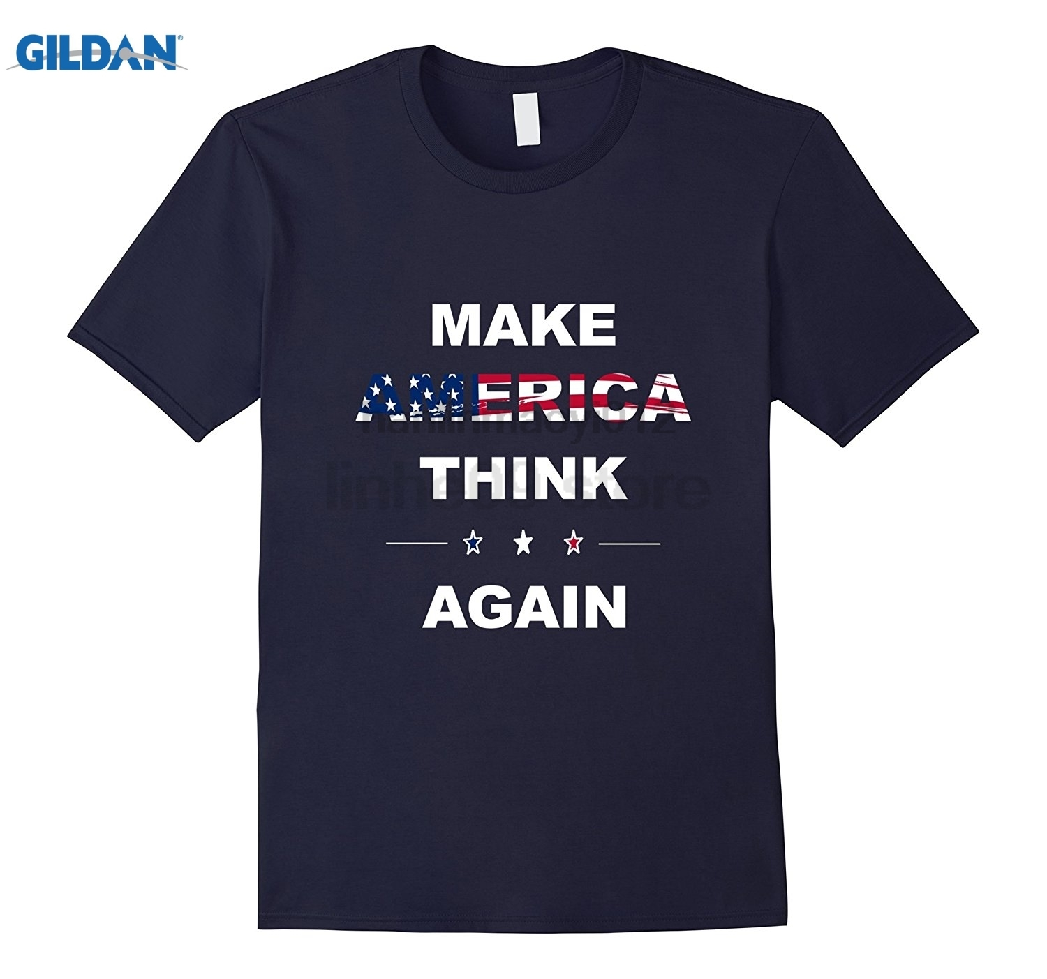 GILDAN Make America Think Again T-Shirt anti Trump <font><b>Protest</b></font> Gift Tee image