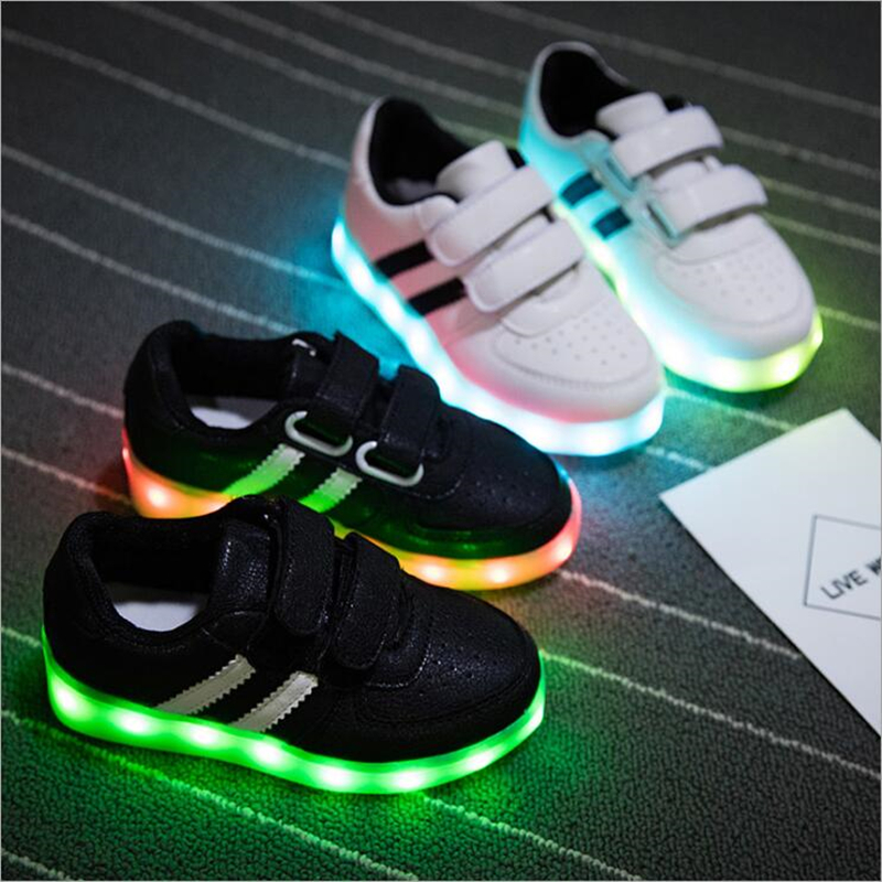 Fashion Led Kids Sneakers Children's USB Charging Luminous Lighted Sneakers Boy/Girls Colorful LED lights Children Shoes 25-34 2018 new kids glowing sneakers with light spiderman usb charging luminous lighted sneakers boy girls colorful led children shoes